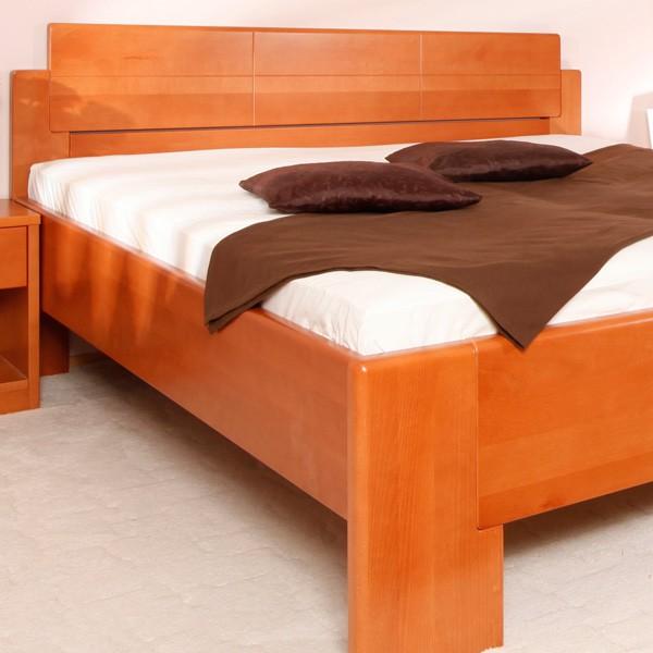 Zvýšená postel DeLuxe -  masiv buk průběžná lamela LAK č.20 třešeň
