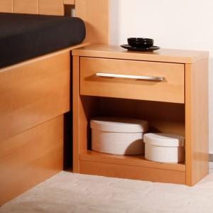Noční stolek 1-zásuvkový Kolacia s úchytkou č.2, masiv buk lak odstín č.10 přírodní