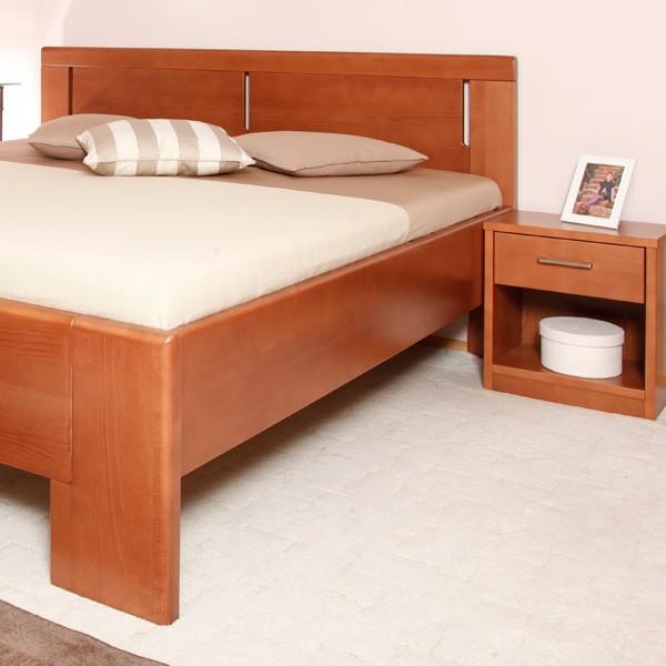Zvýšená postel Deluxe 3 - masiv buk průběžný lak č.20 třešeň