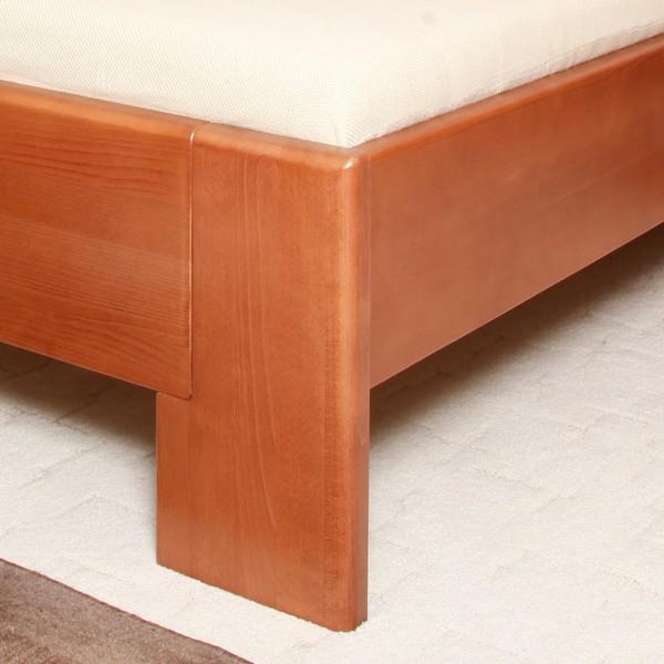 Deluxe 3 - zvýšená masivní buková postel, buk průběžný lak č. 20 třešeň