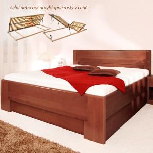 Ložnice Deluxe 4 s nočními stolky a komodou, masiv buk průběžný lak č. 30 tabák (noční stolek a komoda nejsou v ceně postele)