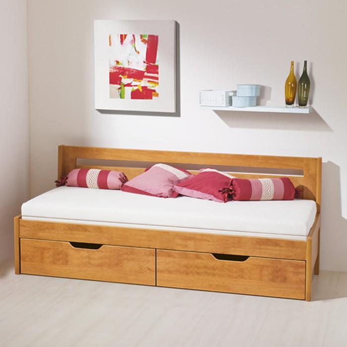 Rozkládací postel TINA TANDEM KLASIK -  lamino hrušeň planá, ukázka se 2 ks celých matrací na sobě