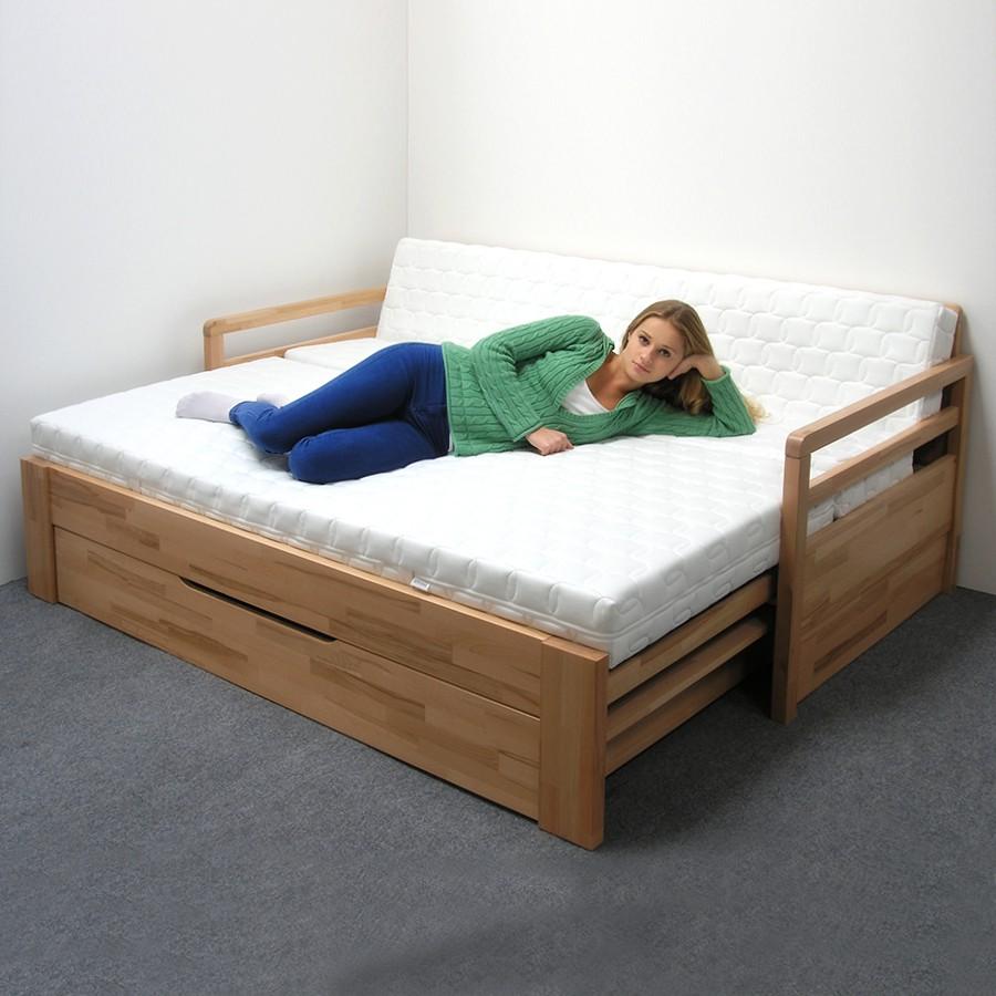 Rozkládací postel LUKE TANDEM PLUS - jádrový masiv buk odstín přírodní lak, BMB