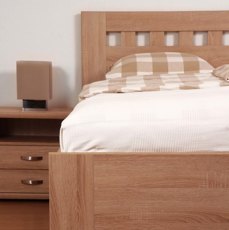 Zvýšená postel ELLA MOSAIC výklop lamino - dekor dub bardolíno, rovné rohy, BMB