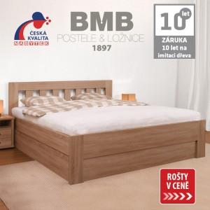 Zvýšená postel ELLA DREAM výklop lamino - dekor dub bardolíno, rovné rohy, BMB
