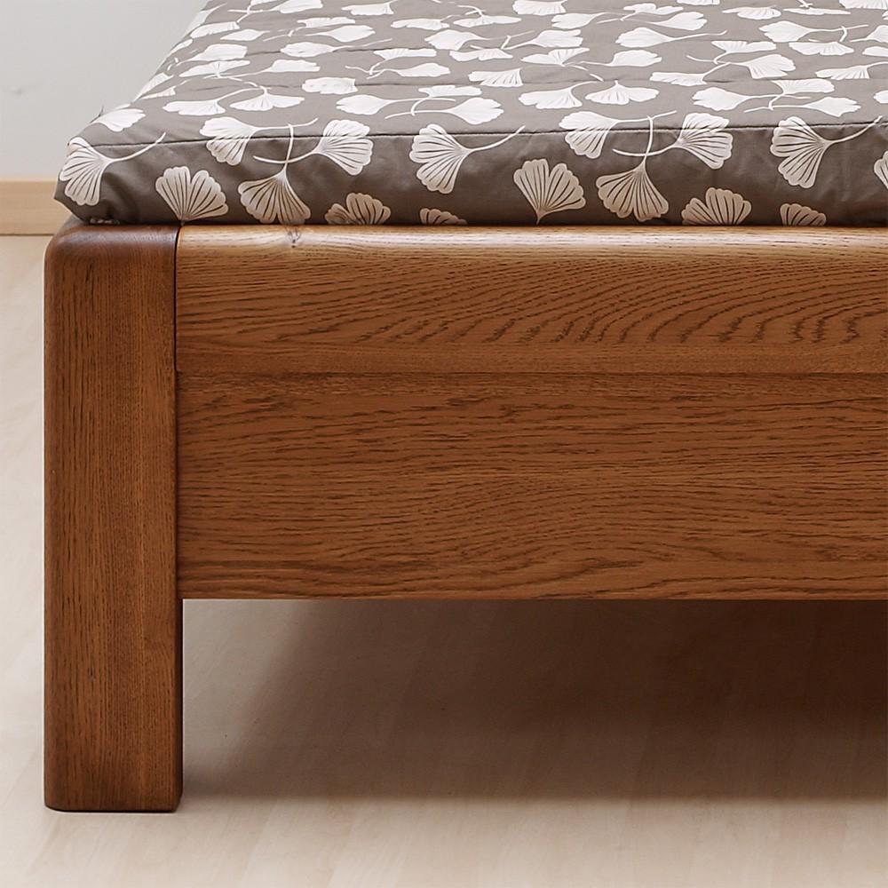 Zvýšená postel ADRIANA masiv dub - dub průběžný odstín palisandr, BMB