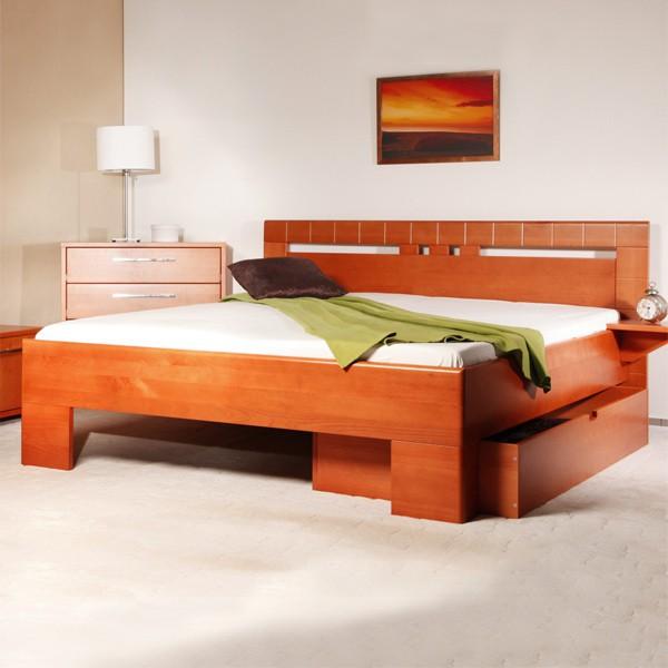 Varezza 1 - zvýšená masivní buková postel, buk průběžný LAK č. 20 třešeň