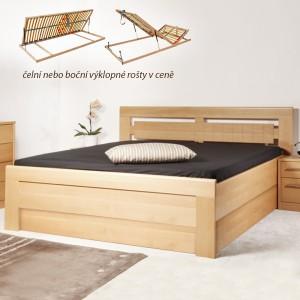 Arleta 3 s úložným prostorem a rošty - zvýšená masivní buková postel