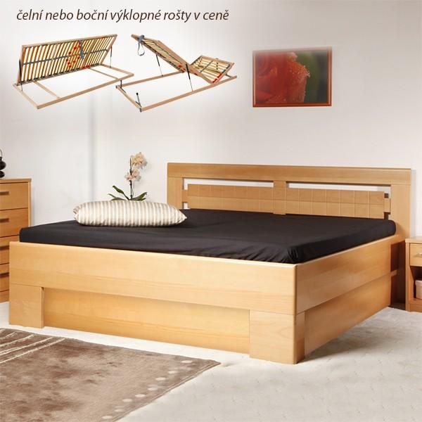 Varezza 3 s úložným prostorem a s rošty - zvýšená masivní buková postel