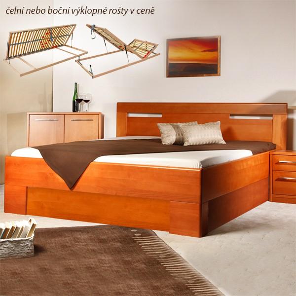 Varezza 5 s úložným prostorem a s rošty - zvýšená masivní buková postel
