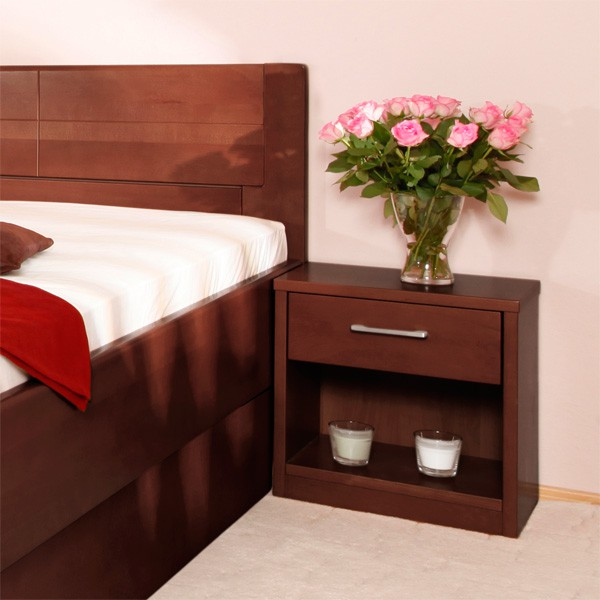 Zvýšená postel DELUXE 4  s úložným prostorem - masiv buk průběžný lak č. 30 tabák (noční stolek není v ceně postele)