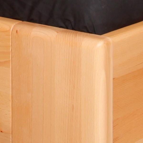Zvýšená postel Deluxe 2 - detail zaoblených hran, masiv buk průběžný olej č. 1 přírodní