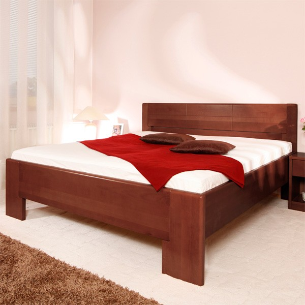 Zvýšená postel Deluxe 4, masiv buk průběžný lak č.30 tabák