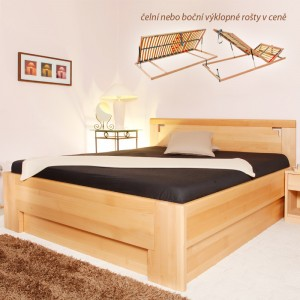 Zvýšená postel Deluxe 2 úložný prostor, masiv buk průběžný olej č.1 přírodní