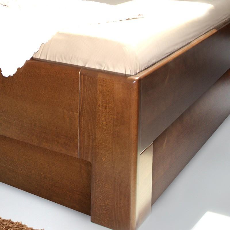 Postel K-DESIGN 3 úložný prostor - masiv buk průběžný lak č. 60 ořech
