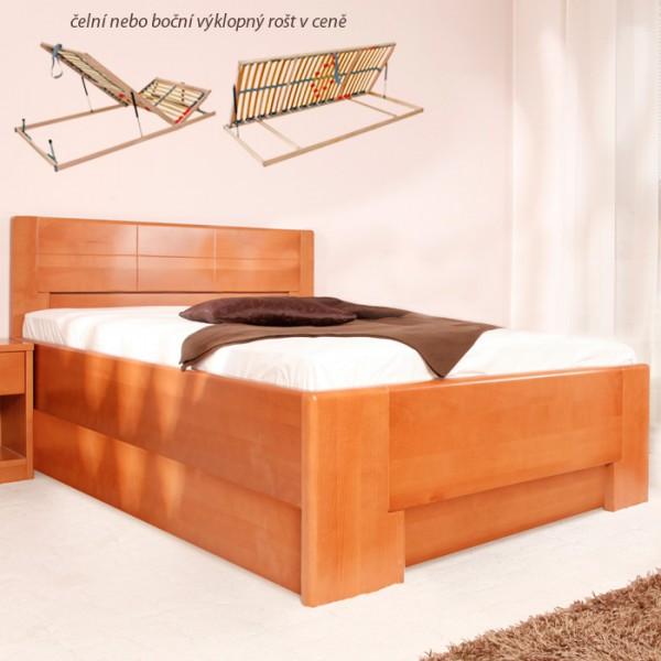 Jednolůžko Deluxe 4 s úložným prostorem - masiv buk průběžný lak č. 20 třešeň, Kolacia Design
