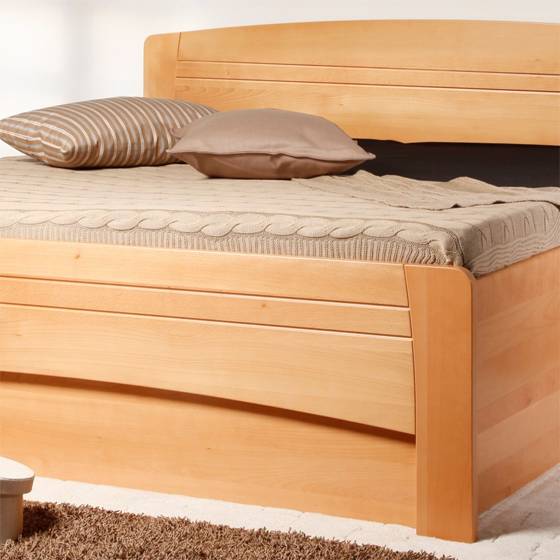 zvýšená postel Evita 4 s úložným prostorem - masiv buk průběžný lak č. 10 přírodní