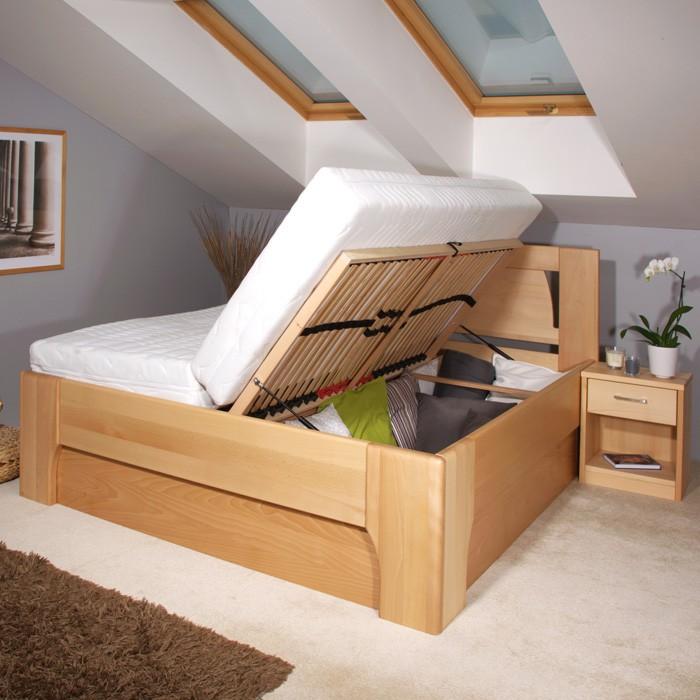 Zvýšená postel Olympia 1 s úložným prostorem - masiv buk průběžný olej č. 1 přírodní, Kolacia Design