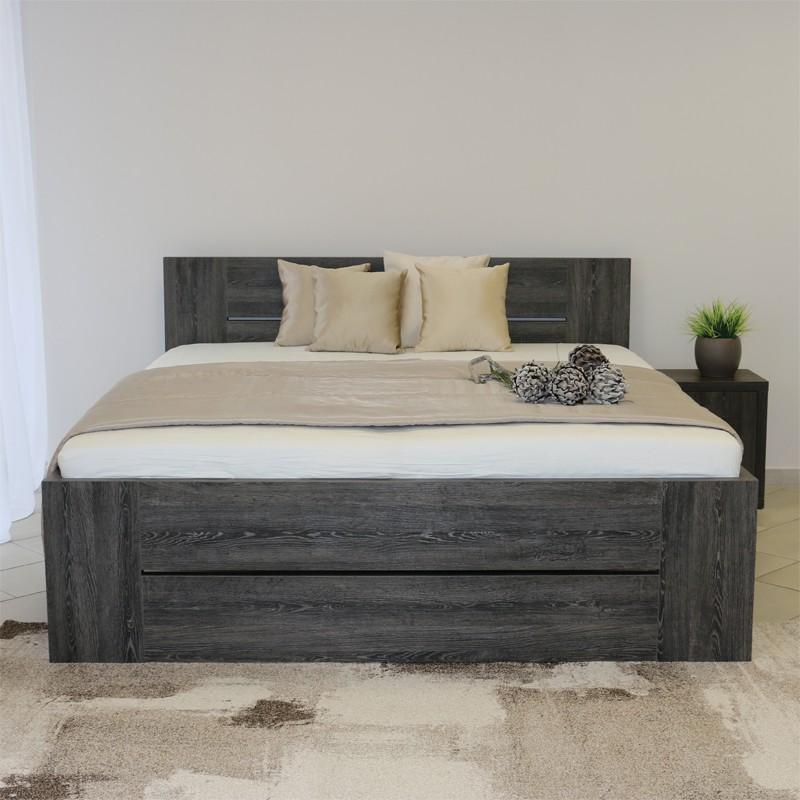 Zvýšená postel LORANO VÝKLOP - lamino dekor dub černý, Ahorn