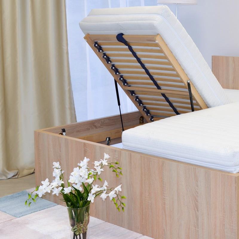 Zvýšená postel TROPEA VÝKLOP - lamino dekor dub světlý, Ahorn