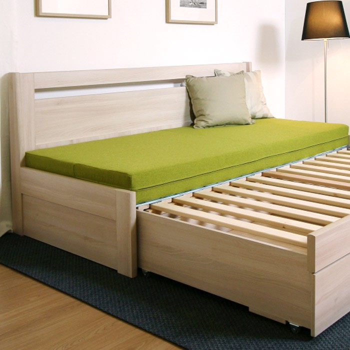 Rozkládací postel TINA TANDEM KLASIK - laminodekor akát, rovné rohy, BMB