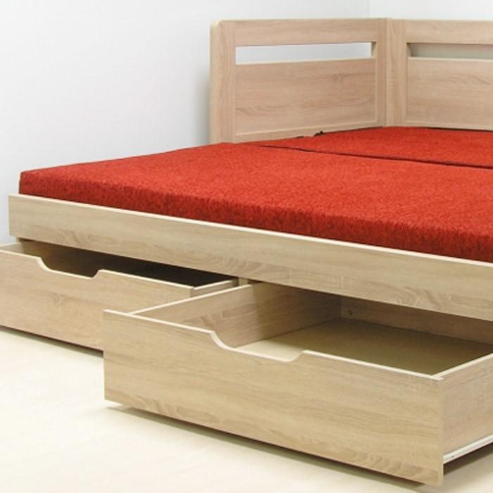 Rozkládací postel ESTER TANDEM KLASIK - lamino dekor akát, oblé rohy, BMB