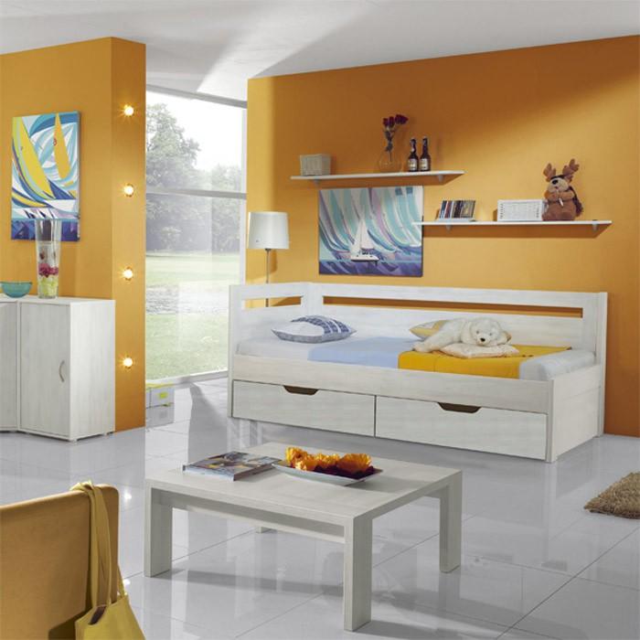 Rozkládací postel ESTER TANDEM KLASIK - prémiový dekor bělené dřevo, BMB