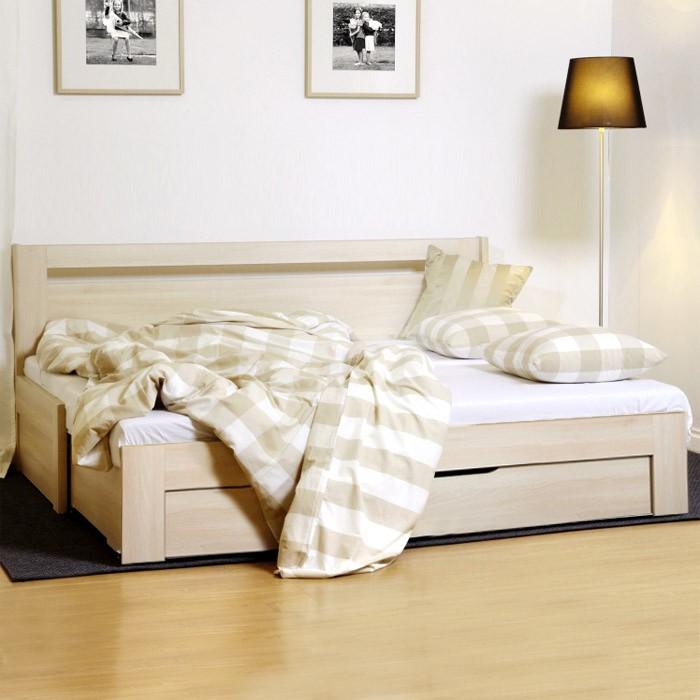 Rozkládací postel TINA TANDEM PLUS, lamino akát s lamelovým rozkládacím dvojroštem, BMB