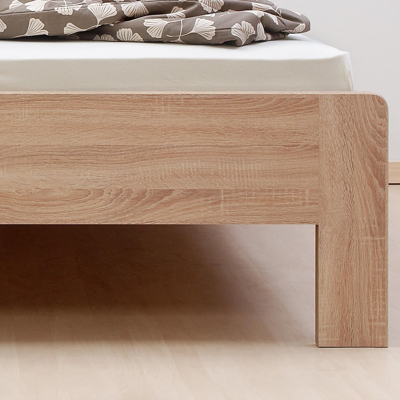 Zvýšená postel ELLA LUX lamino - dekor Dub Bardolíno s oblými rohy, BMB