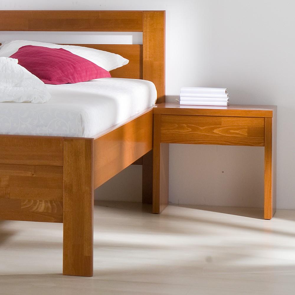 Noční stolek KLASIK masiv buk průběžný odstín mahagon, BMB
