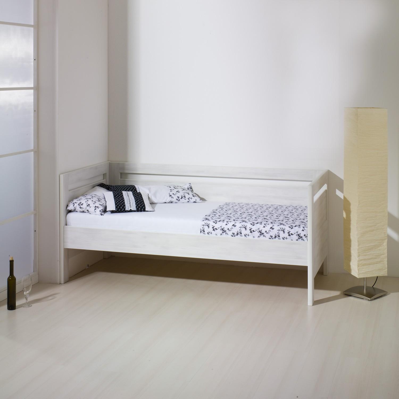 Jednolůžko SÁRA lamino - prémiový dekor bělené dřevo s rovnými rohy, BMB