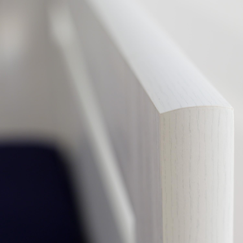 Jednolůžko ESTER VÝKLOP lamino - prémiový dekor bělené dřevo s rovnými rohy, detail zvýšeného boku, BMB