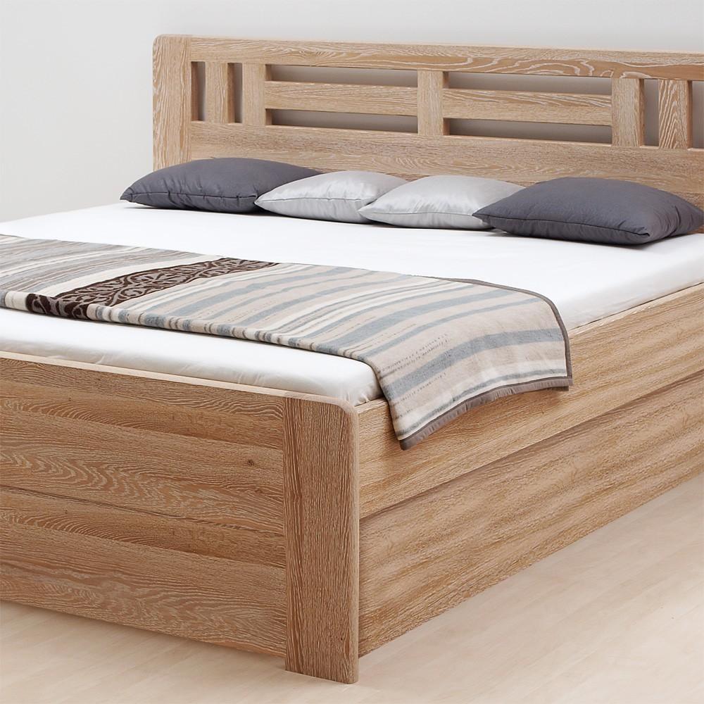 Zvýšená postel ELLA MOON VÝKLOP masiv dub - provedení dub průběžný bělený, BMB
