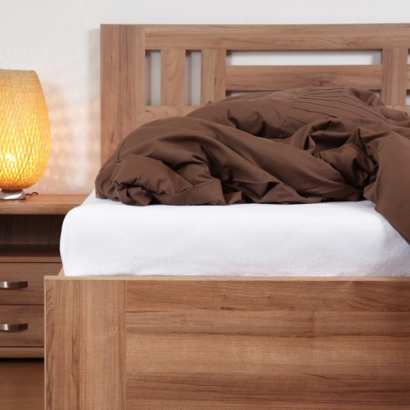 Zvýšená postel ELLA MOON VÝKLOP lamino - dekor ořech natur s rovnými rohy, BMB