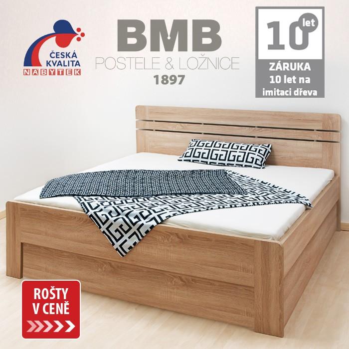 Zvýšená postel ELLA LUX VÝKLOP lamino - dekor dub bardolíno s oblými rohy, BMB