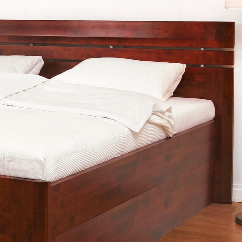 Zvýšená postel ELLA LUX VÝKLOP masiv buk - provedení tmavý ořech, BMB
