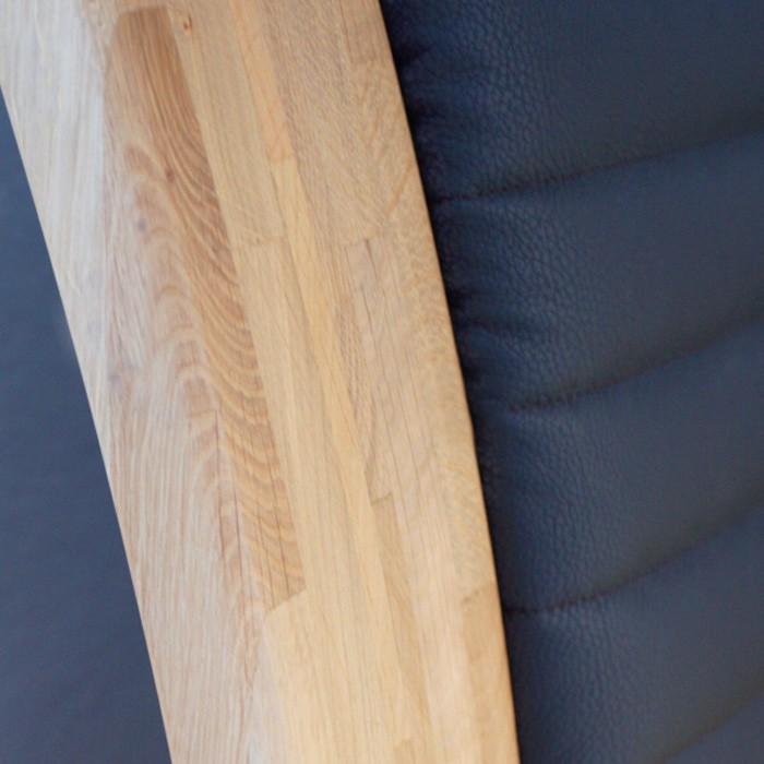 Postel KEROS - masiv dub sukatý s koženkovým čelem odstín 210 Espresso, Jitona