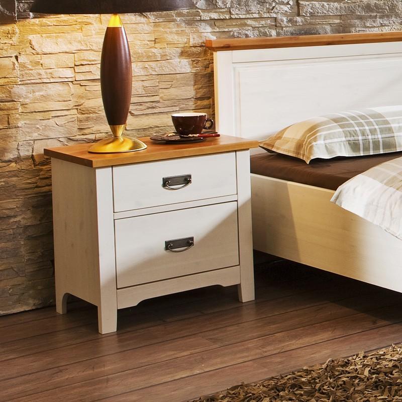 Noční stolek COUNTRY INN - masiv borovice bílá / vrchní deska bernstein, Jitona