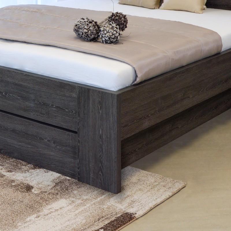 Zvýšená postel LORANO VÝKLOP, lamino dekor dub černý, Ahorn