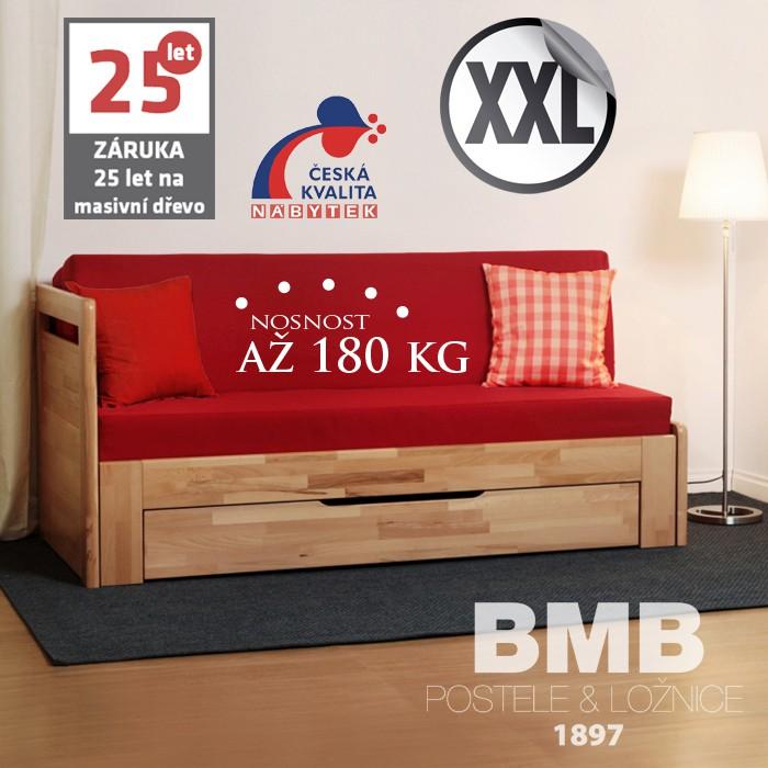 Rozkládací postel LARA TANDEM ORTHO XXL masiv, BMB