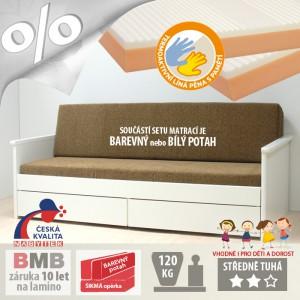 AKCE rozkládací postel JORA TANDEM KLASIK s područkami lamino s matracemi BONNIE 18