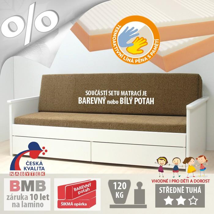 AKCE rozkládací postel JORA TANDEM KLASIK lamino s matracemi BONNIE 18