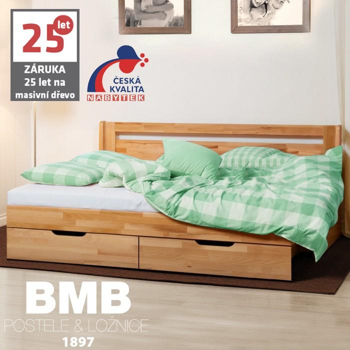 AKCE rozkládací postel CORA TANDEM KLASIK masiv buk s matracemi PARTNER BIOGREEN 20