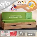AKCE rozkládací postel CORA TANDEM KLASIK masiv buk s matracemi BONNIE 18