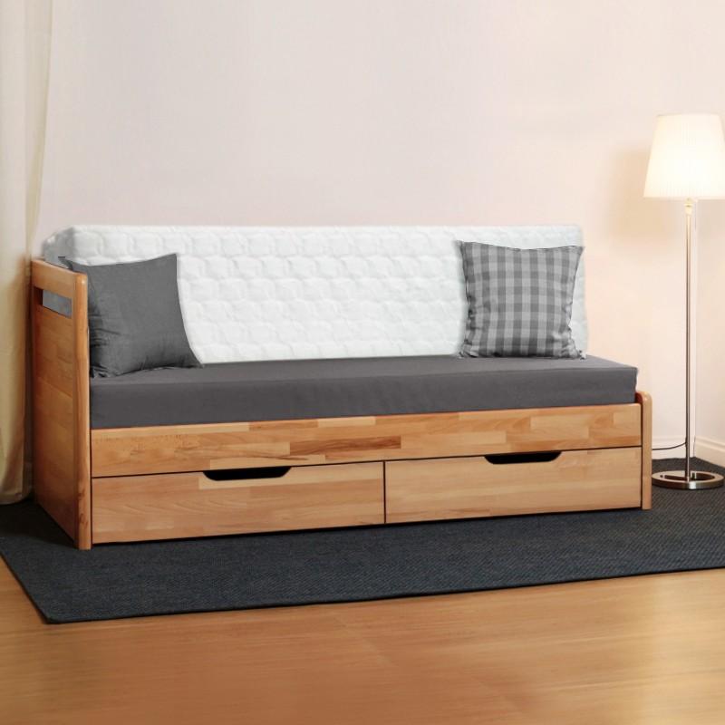 AKCE rozkládací postel LARA TANDEM KLASIK masiv buk s matracemi ANTIBACTERIAL VISCO VAKUO 18
