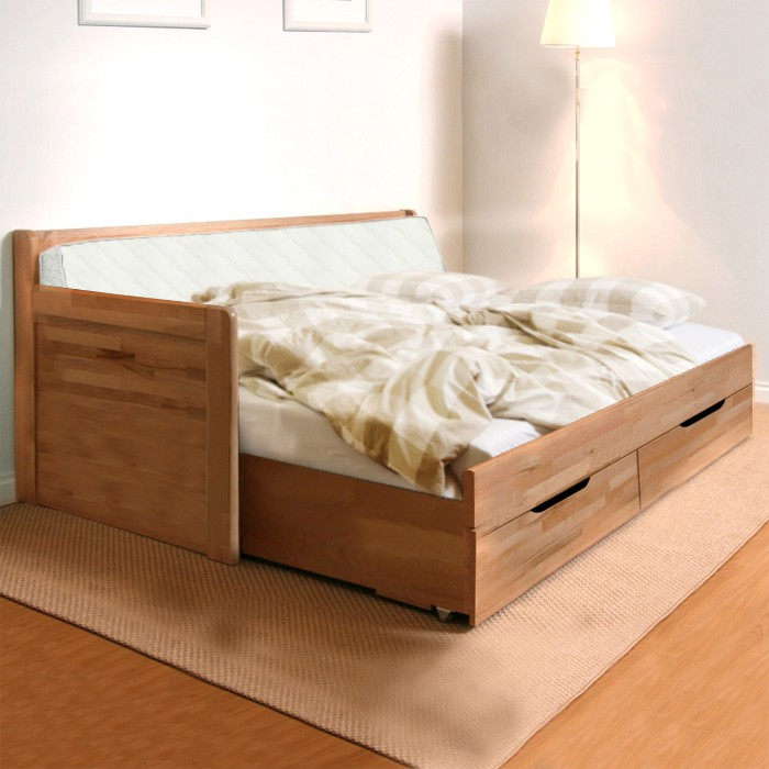 AKCE rozkládací postel MARCY TANDEM KLASIK masiv buk s matracemi VISCOSTAR 20 - rohová varianta