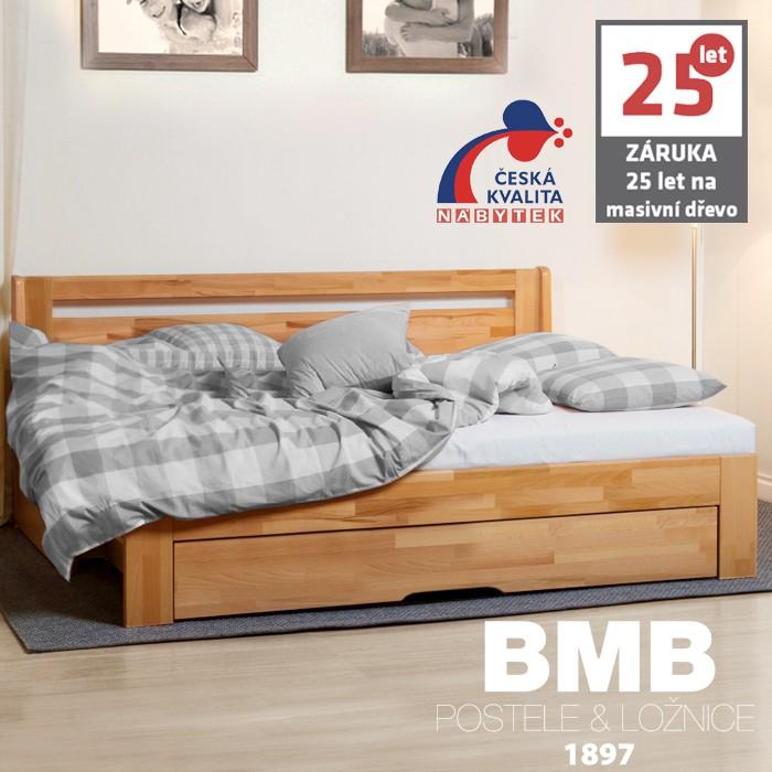 AKCE rozkládací postel CORA TANDEM ORTHO XXL masiv buk s matracemi POLARGEL SUPERIOR 20