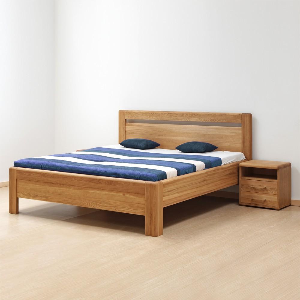Zvýšená postel ADRIANA KLASIK masiv dub průběžný, přírodní olej, BMB