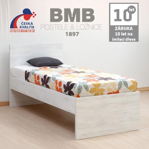 Jednolůžko BRUNO lamino  imitace běleného dřeva, BMB