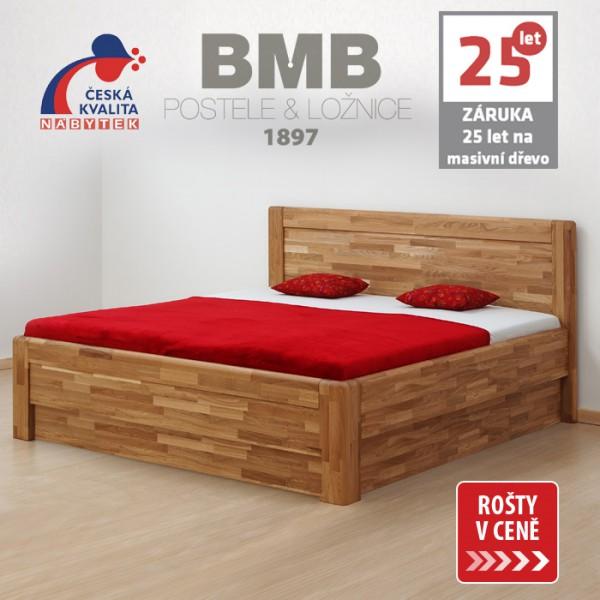 Zvýšená postel ADRIANA FAMILY VÝKLOP masiv dub, BMB